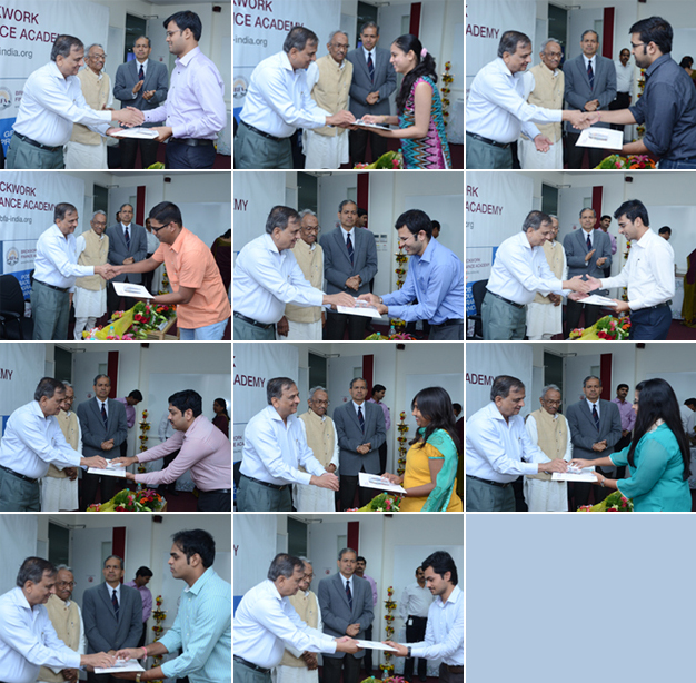 Graduating students receiving their Certificates